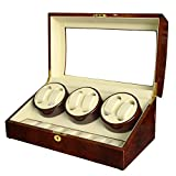 KAIHE-BOX Watch Winders for automatic watches Winder storages box Display Box Case (6+7) Quiet Mabuchi Motors T31EW , yellow