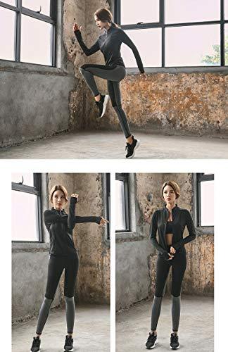 Donna Cerniera Abbigliamento Lunga Elegante Nero Jogging Selvaggio Tendenze Corsa Felpa Fitness Maglia Yoga Giacca Con 5all Cappotto Da Sportivo Sportive Manica Antivento dqtOd4