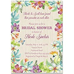 Tropical Floral Bridal Shower Invitations, Destination Wedding Bridal Shower Invitations, Base price is for a set of 10 5x7 inch card stock invitations with white envelopes