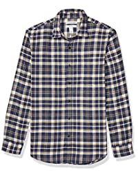 Amazon Essentials Camisa de franela a cuadros de manga larga de ajuste delgado Camisa de botones para Hombre