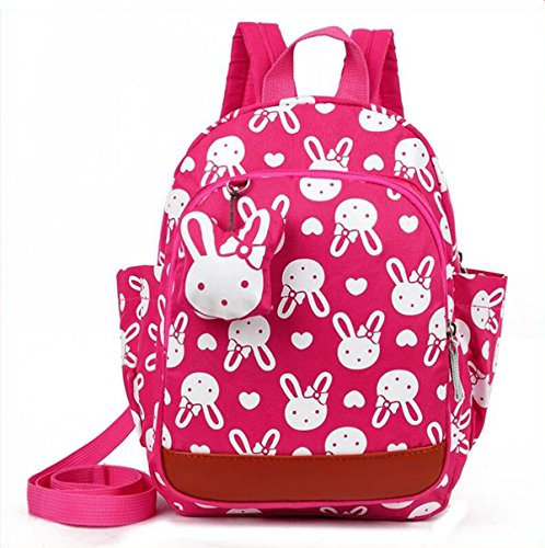 Kids Cartoon Bags Walking Safety Harnes Toddler Leash Anti-lost bagpack with bear pendant (Rose Red) -