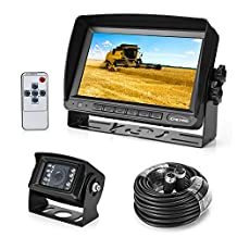 "Backup Camera and Monitor System, 18 IR LED Night Vision with Waterproof Reversing Backup Camera + 7"" Inch TFT LCD Display Rear View Monitor (Two Bracket)"