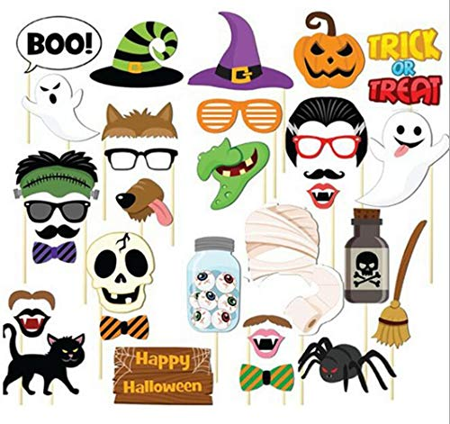 Sakolla(Set of 35) Happy Halloween Photo Booth Props DIY Kit Funny Witch Ghosts Hat Pumpkin Bat Fancy Party -