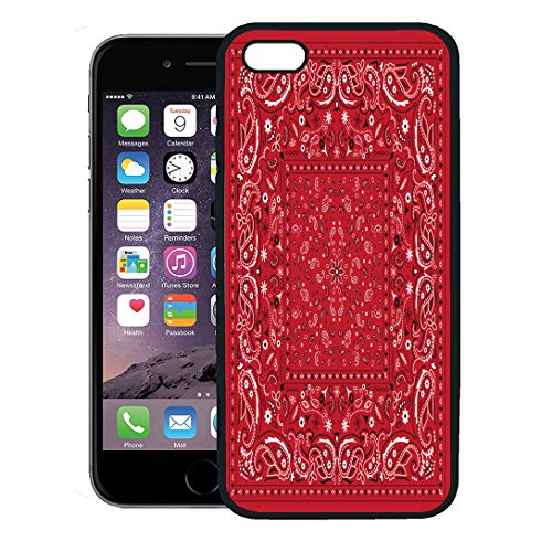 Semtomn Phone Case for iPhone 8 Plus case,Colorful Pattern Red Paisley Bandana Bandanna Kerchief Scarf Black iPhone 7 Plus case Cover,Black