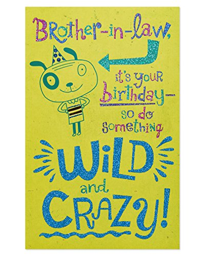 American Greetings Wild and Crazy Birthday Card for Brother-in-Law with Glitter