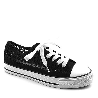 bdd3e32edbc196 Angkorly - Damen Schuhe Sneaker - Spitze - Glitz Flache Ferse 2 cm -  Schwarz BL130