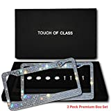 Touch of Class Premium Bling License Plate Frames, Diamond Cut Rhinestone Sparkly Crystal on Stainless Steel (2 Pack Box Set) for Women and Men