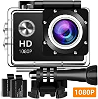 Action Camera, 12MP 1080P 2 Inch LCD Screen, Waterproof Sports Cam 120 Degree Wide Angle Lens, 30m Sport Camera DV...