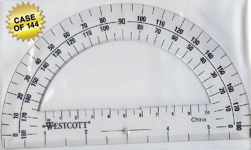 Westcott Clear 6-Inch Plastic 180 Degree Protractor (500-11200), Case of 144 by Westcott