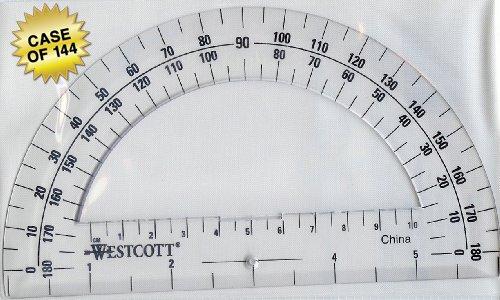 Westcott Clear 6-Inch Plastic 180 Degree Protractor (500-11200), Case of 144 by Westcott (Image #1)
