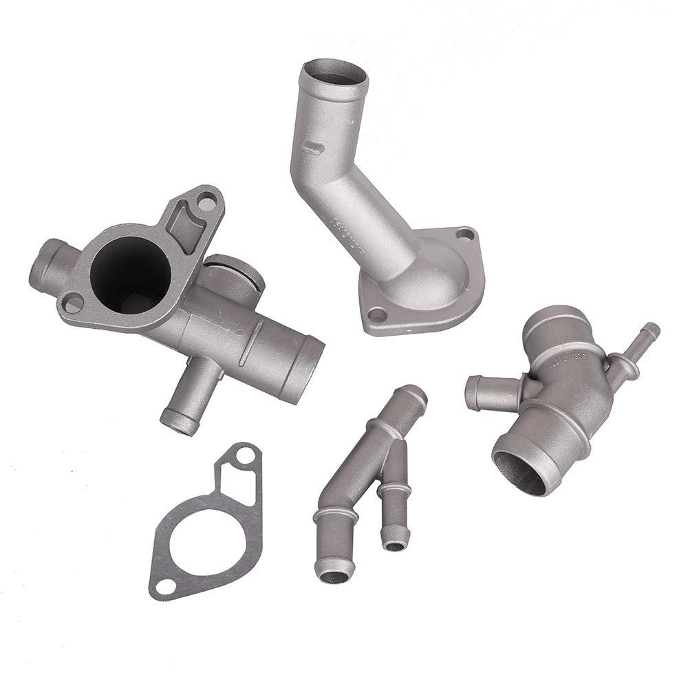 Cast Aluminum Coolant Flange Kit for VW Audi 1.8T Cooling Hose Flange Coolant T-Fitting Thermostat Housing Cover Water Distribution Pipe 1J0121087E 1J0121087C 06A121121C 06A121133J