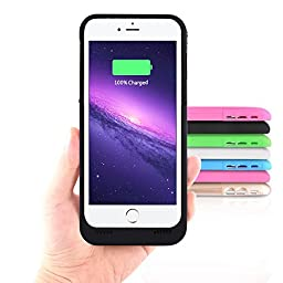 iPhone 6 Battery Charging Case External Battery Backup Charger Case 3500mAh with Kickstand for iPhone 6/6S by Kujian (Black)