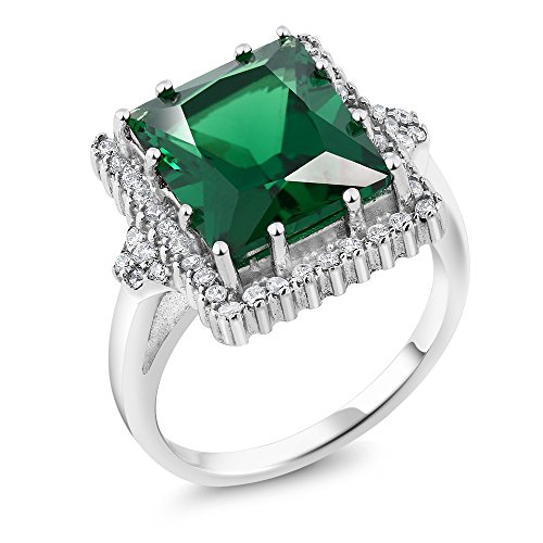 Gem Stone King 5.50 Ct Emerald Cut 12x10mm Green Simulated Emerald 925 Sterling Silver Ring (Size 7)