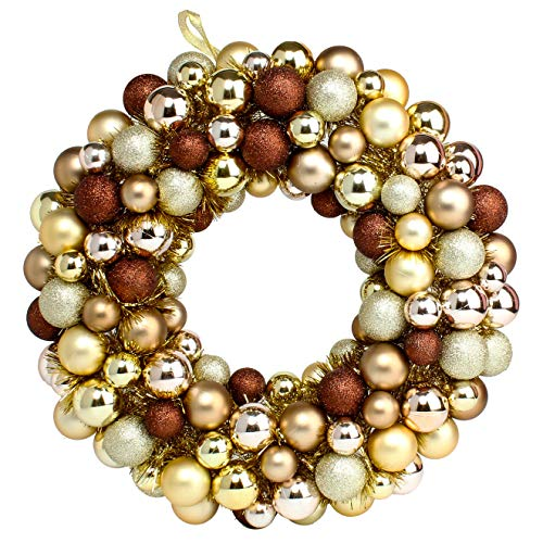 Costyleen 16 Inch Christmas Ball Wreath Home Party Decors Xmas Front Door Decorative Hanging Christmaswreaths Ball Ornaments Champagne Golden Bronze (Wreath Ball)