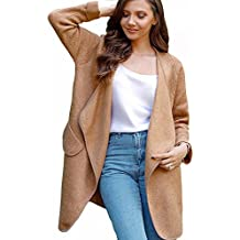 Chicwish Women's Comfy Casual Wide Lapel Open Front Long Sleeve Pink/Brown/Grey Cardigan Coat