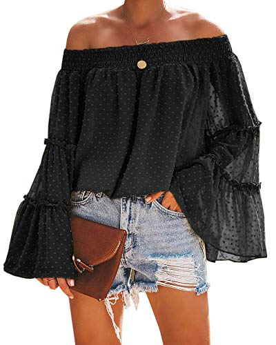 (Beautife Womens Summer Off The Shoulder Tops Polka Dot Casual Loose Chiffon Bell Sleeve Blouse Shirts Black)