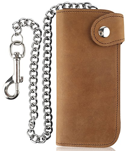 Bi Distressed Leather Fold (RFID Blocking Men's Bifold Vintage Long Style Cow Top Grain Leather Steel Chain Wallet,Made In USA,Snap closure, horse brown,PU473)
