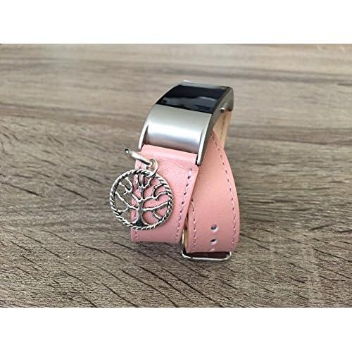 Double Bracelet en cuir artificiel Rose pour Fitbit Charge 2HR Bracelet Fitness tracker faite à la main de remplacement Band avec argent Arbre de vie spirituelle Charm