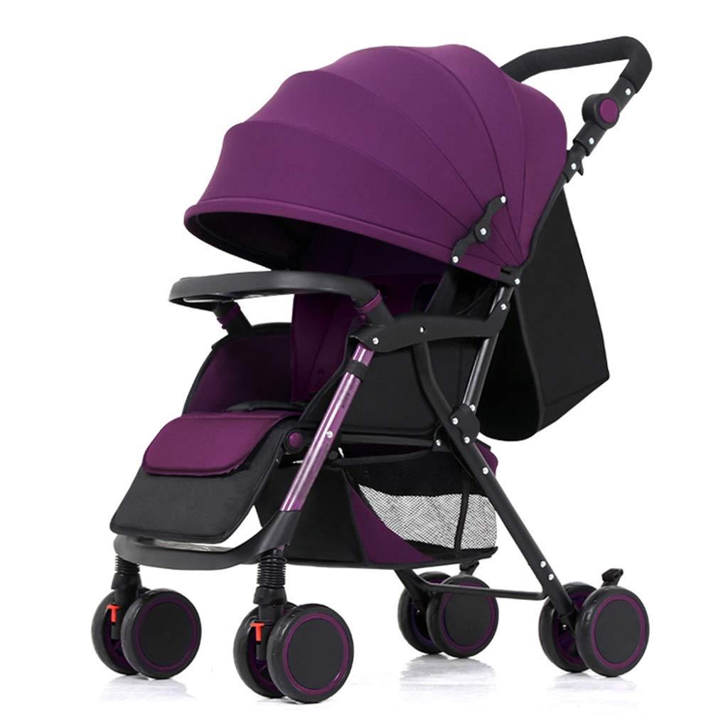 Komfort-Kinderwagen für 0-3 Jahre Kinderleichter faltbarer Kinderwagen-Reisesystem   Stoßfeste 8 Räder   Verstellbarer Sitz   Großer Ablagekorb (Lila)
