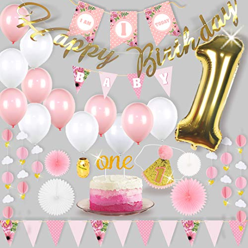 Premium | 1st Birthday Girl Decorations | First Birthday Girl Decorations Set | Pink and Gold 1st Birthday Decorations Girl | Party Supplies | Girl First Birthday Decorations -