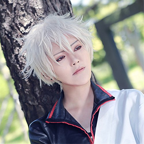 [Lanting Cosplay wig Gintama Silver White Short For Men Beauty Woman Anime Human Costume Full wigs Synthetic Hair Heat Resistant] (Female Flasher Adult Costumes)