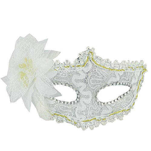 YiYi Operation Half Masquerade Venetian Mask Women Mardi Gras Mask with Flower Costumes Ball Party Accessory (White Mask Mardi Feather Gras)