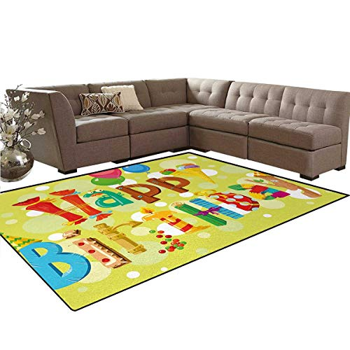 Birthday,Rug,Happy Birthday in Cute Shapes Funny Figures with Ice Cream Candies and Balloons,Home Decor Floor Carpet,Multicolor,5'x7'
