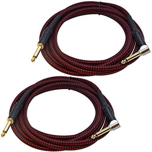- Seismic Audio - SASGC-BR-BR10-2 Pack of 10 Foot Supreme Guitar or Instrument Cables - Black & Red Woven Tweed Jacket- 10' Pro Audio 1/4 Inch TS Straight to Right Angle Guitar Cords