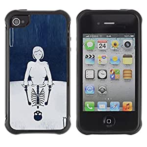 Suave TPU GEL Carcasa Funda Silicona Blando Estuche Caso de protección (para) Apple Iphone 4 / 4S / CECELL Phone case / / Cards Girl Deep Reflection Skeleton /