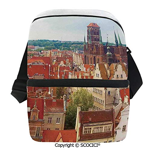 SCOCICI Reusable Insulated Grocery Bags Cityscape of Nostalgic