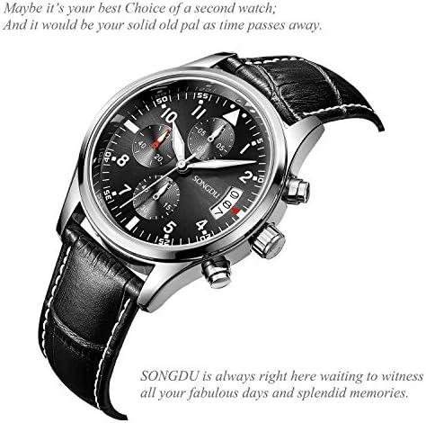SONGDU Men s Fashion Business Quartz Watch Chronograph Waterproof Date Display Analog Sport Wrist Watches