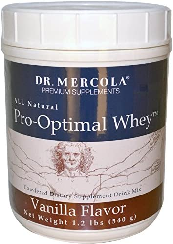 Dr. Mercola, Pro-Optimal Whey Vanilla Protein Powder, 19.2 oz 1 LB. 3.2 oz , BCAA, Dissolves Easily, Natural Flavors, non GMO, Soy-Free, Gluten Free
