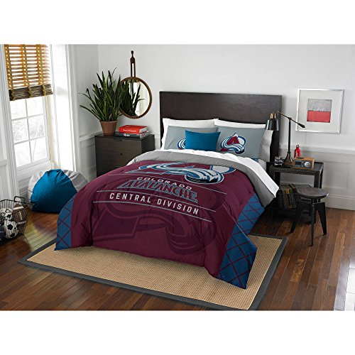 MI Hockey League Avalanche Bedding 3 Piece Comforter Full Queen Set, Sports Patterned Team Logo Fan Merchandise Athletic Team Spirit, Blue Red Grey, Polyester (Colorado Avalanche Comforter)