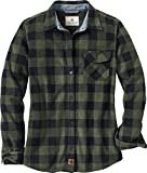 Legendary Whitetails Ladies Trail Guide Fleece Plaid Button up Shirt (Small, Night Forest Green Plaid)