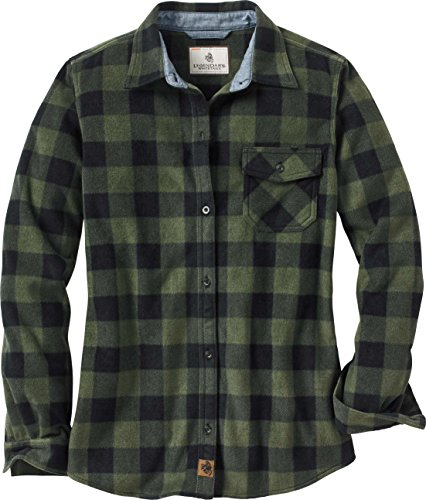 (Legendary Whitetails Ladies Trail Guide Fleece Plaid Button Up Shirt (X-Large, Night Forest Green Plaid))