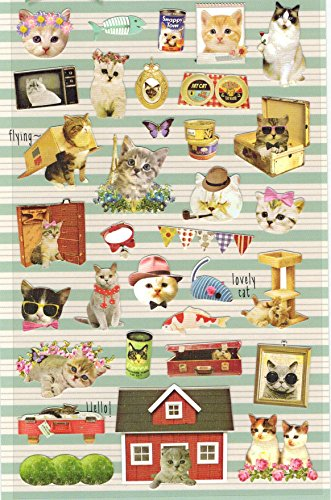 [DECO FAIRY] Photogenic Cute Kitty Kitten Cat Vintage Style Stickers (33 Stickers)