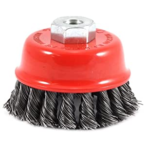 Forney 72782 Wire Cup Brush, Knotted with M10 by 1.25 Arbor, 2-3/4-Inch-by-.020-Inch