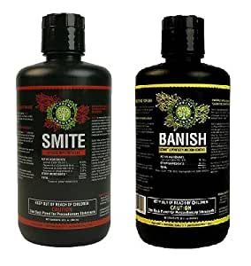 Supreme Growers Smite and Banish 32oz Concentrate Bundle All Natural Pesticides Spider Mite Killer Fungicide Downey & Powdery Mildew Control (Smite 32oz Makes 32 Gal, Banish 32oz Makes 240 Gal)
