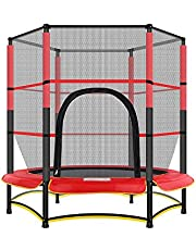 Indoor Trampoline Trampoline - Round Trampoline with Safety Enclosure Net Indoor Or Outdoor For Kids Fitness Trampoline Full-Size Protective Mat Elastic Rope Trampoline Max Load 100kg Fitness Trampoli