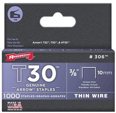 T30 Staples Box (Arrow Fastener 306 Genuine 3/8-Inch Thin Wire Staples for T30 staple gun, HT 30 hammer tacker, 1,000-Pack)