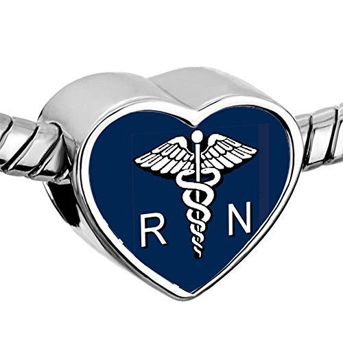 ReisJewelry RN Nurse Charm Heart Love Charms Photo Beads For Bracelets (Pandora Nurse Charm)