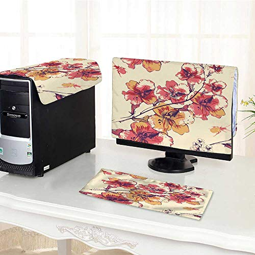 UHOO2018 Computer dustproof Three-Piece Vector with Bloom Flowers and Beetles for LED LCD Screens Flat Panel HD Display /28
