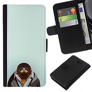 // PHONE CASE GIFT // Moda Estuche Funda de Cuero Billetera Tarjeta de crédito dinero bolsa Cubierta de proteccion Caso Sony Xperia M2 / Penguin in Suit Hipster /