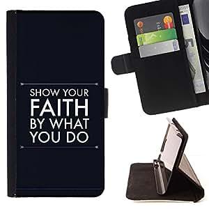 Momo Phone Case / Flip Funda de Cuero Case Cover - BIBLIA Muestre su fe por lo que haces; - HTC One A9