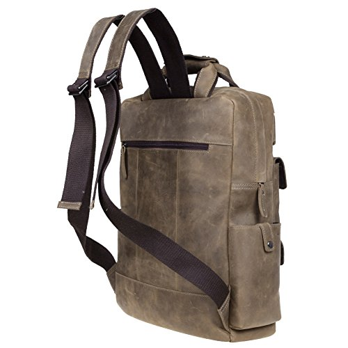 S-ZONE Vintage Crazy Horse Genuine Leather Backpack Multi Pockets Travel Sports Bag by S-ZONE (Image #2)