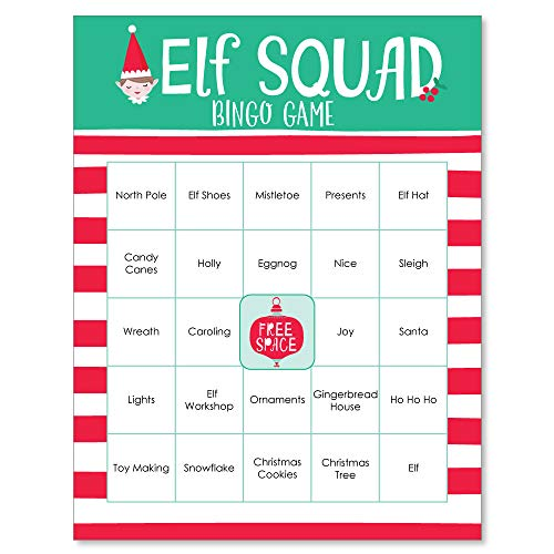 - Big Dot of Happiness Elf Squad - Kids Elf Christmas and Birthday Party Game Bingo Cards - 16 Count