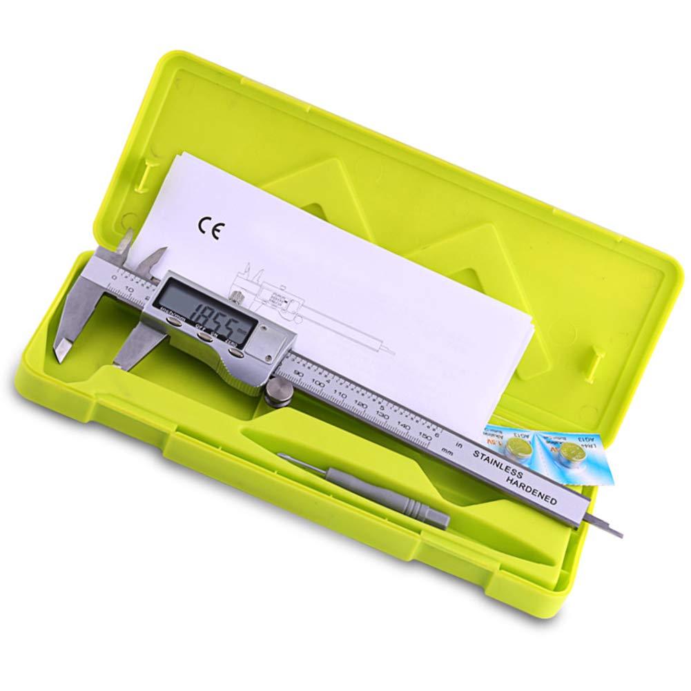 Calibro elettronico digitale a corsoio 150 mm 200 mm 0-6//8 pollici calibro digitale con LCD extra large 304 in acciaio inox strumenti di misurazione pollici//metrica conversione 150mm 1