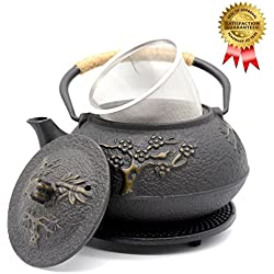 OMyTea Cast Iron Teapot with Infuser and Trivet, Japanese Tetsubin Tea Kettle, Pine Plum Trees Pattern, 31oz/900ml