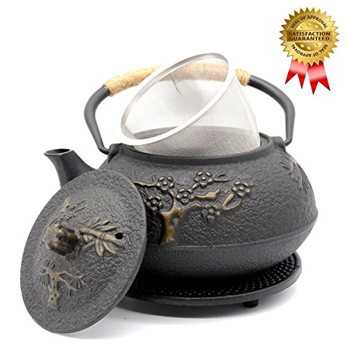 OMyTea Cast Iron Teapot with Infuser and Trivet, Japanese Tetsubin Tea Kettle, Pine Plum Trees Pattern, 31oz/900ml Cast Iron Steel Trivet