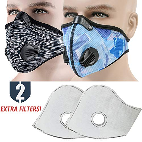 Back Mask Navy Face - MoHo Dust Mask, Upgrade Version Activated Carbon Dustproof Mask Windproof Foggy Haze Anti-Dust Mask Motorcycle Bicycle Cycling Ski Half Face Mask for Outdoor Activities (Navy Gray)